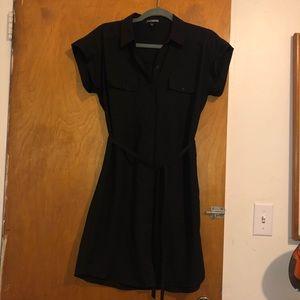 Express Tie-Waist Dress with Buttons